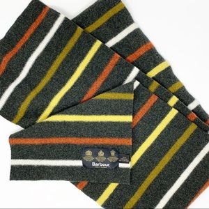 Barbour Striped Lambswool Scarf Made in Scotland